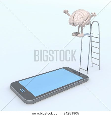 Brain On Ladder Pool That Plunges On The Mobile Phone Screen