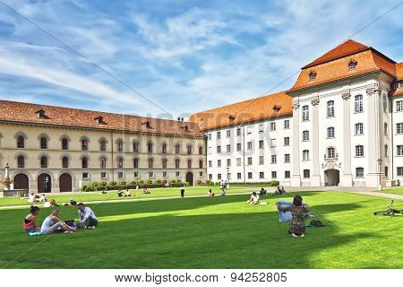 ST. GALLEN, SWITZERLAND - MAY 11, 2012: St. Gallen abbey in Switzerland - UNESCO World Heritage Site