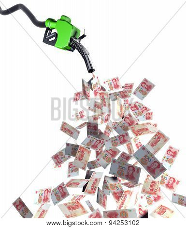 Fuel Nozzle With Yuan Banknotes
