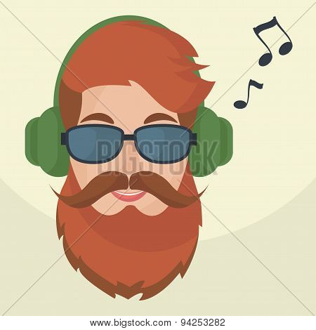 Hipster Headphones Icon.