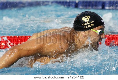 BARCELONA - JUN, 10: South African swimmer Chad le Clos swimming butterfly during the Trophy Ciutat de Barcelona in Sant Andreu Club, June 10, 2015 in Barcelona, Spain