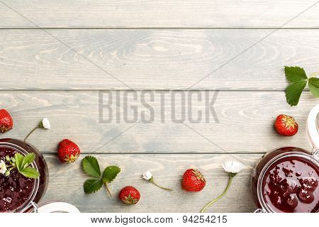 Rustic food on vintage wooden background.