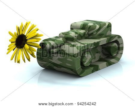 Toy Tank And Flower