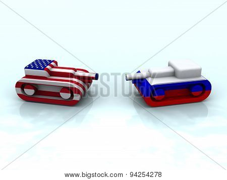 toy tank colored with flag