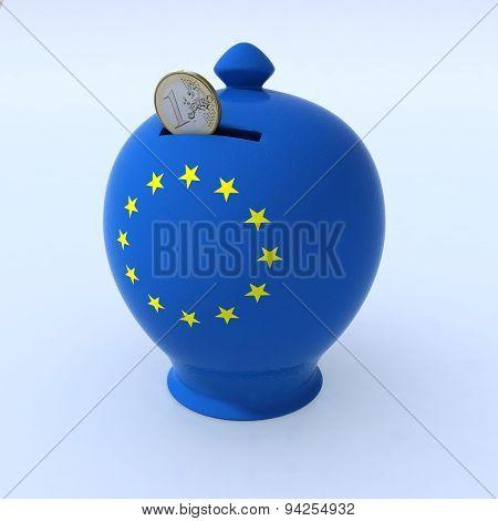Money Box With European Flag