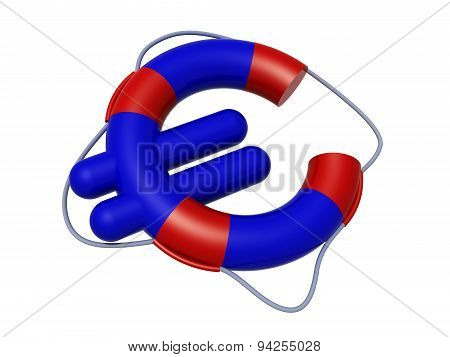 Euro Symbol Like Lifebuoy, Low Cost Travel Concepts,