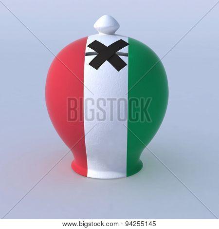 Money Box With Italian Flag
