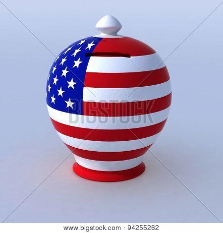 Money Box With U.s.a. Flag