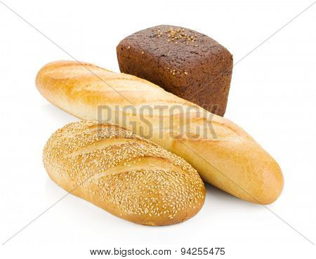 Three loafs of bread. Isolated on white background