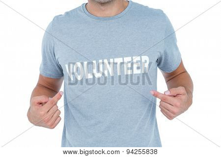 Volunteer man pointing himself