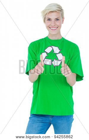Pretty blonde wearing a recycling tshirt gesturing thumbs up