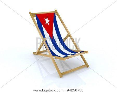 Wood Beach Chair With Cuban Flag