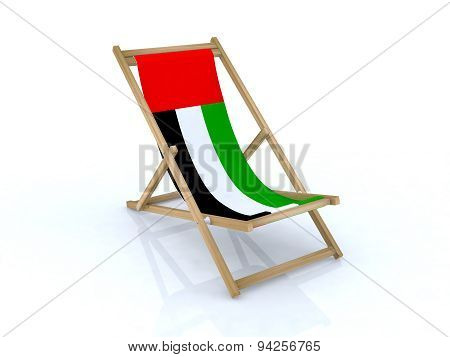Wood Desk Chair With United Arab Emirates Flag