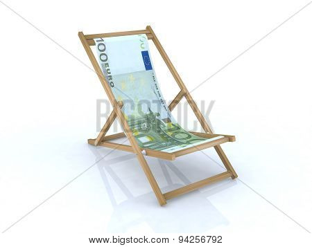 Wood Desk Chair With 100 Euro Banknote