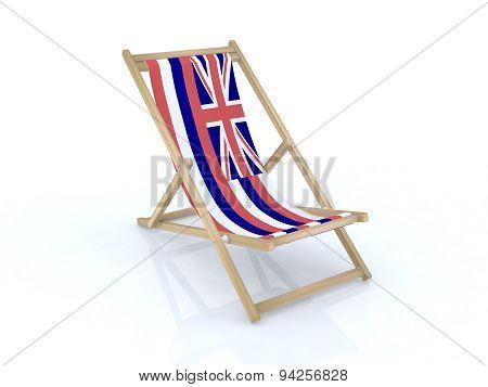 Wood Desk Chair With Hawaiian Flag