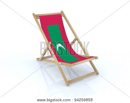 Wood Desk Chair With Maldives Flag