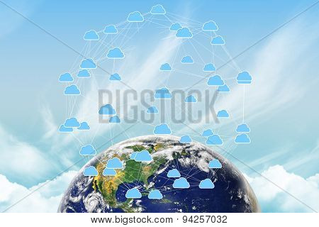 earth against cloud computing graphic with connecting lines
