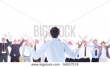 Composite image of gesturing businessman celebrating