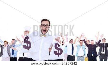 Composite image of geeky businessman holding money bags in hands