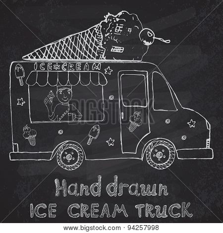 Hand Drawn Sketch Ice Cream Truck With Yang Man Seller And Ice Cream Cone On Top, On Chalkboard