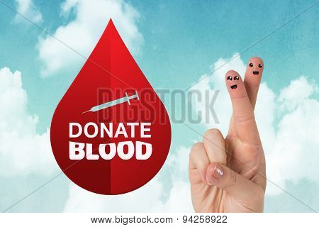 Donate blood against blue sky