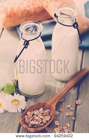 Light summer breakfast with milk outdoors