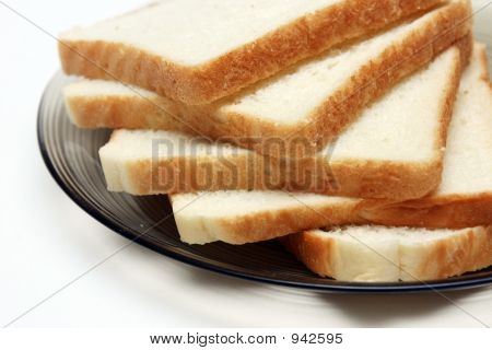 Slices Of White Bread On A Plate