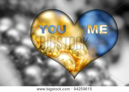 You And Me Text On A Heart Shape