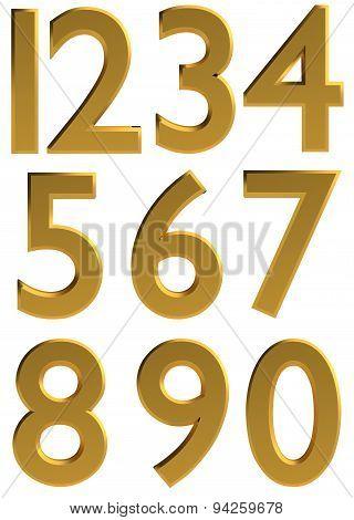 Gold 3D Modern Number Font