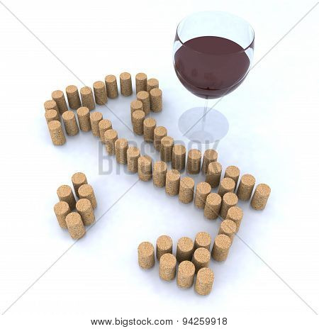 Italian Map With Cork And Glass Of Red Wine