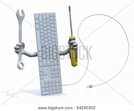 Computer Keyboard With Arms And Tools On Hand