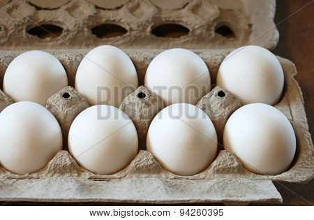 Carton of Wholesome and nutritious Organic white eggs