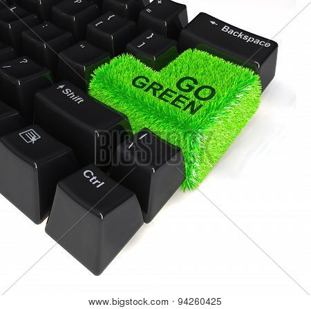 Keyboard With Enter Button In Green Grass