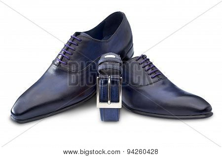 Mens Shoe And Belt Isolated On White