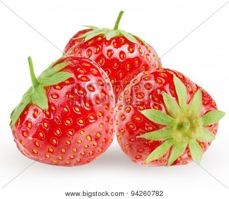 Few strawberry on white background.