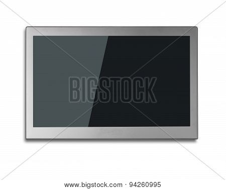 Blank Black Wide Flat Tv Screen Isolated On White