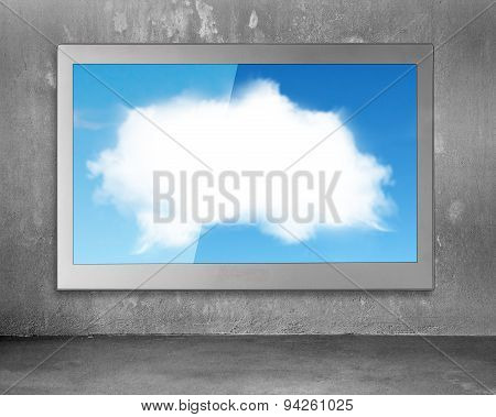 White Clouds Sky Image On Wide Flat Tv Screen