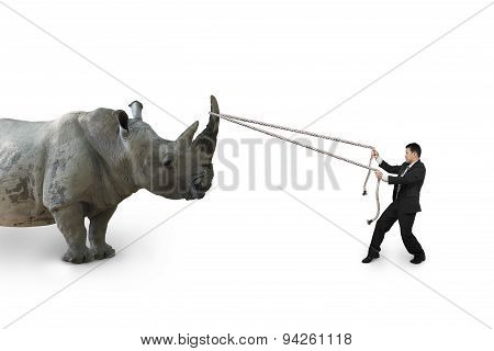 Businessman Pulling Rope Against Rhinoceros Isolated On White