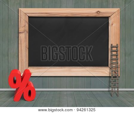 Blank Blackboard With Red Percentage Sign Wood Ladder