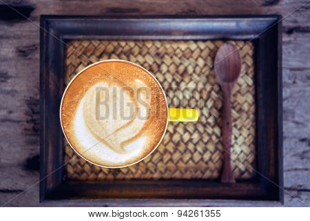 Coffee Mocha Hot On Wooden Table On Wooden Background