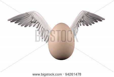 Egg With Bird White Wings