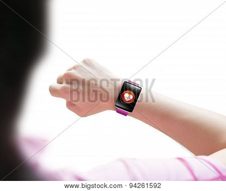 Sport Woman Looking At Health Sensor Smart Watch Hand Wearing