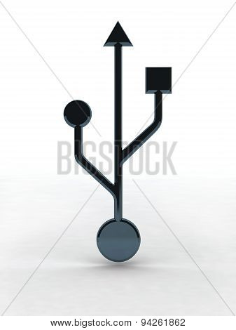 Usb Symbol 3D Illustration