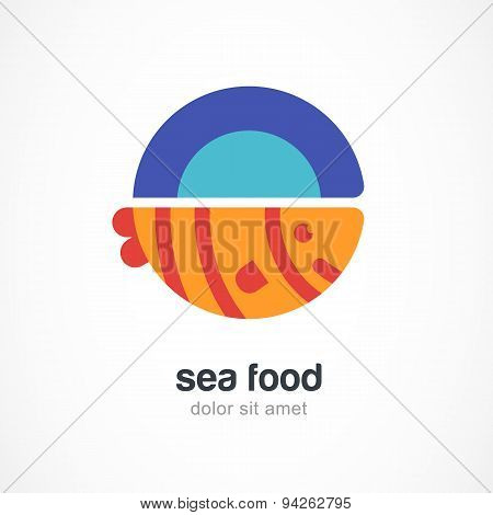 Grilled Fish On Plate, Flat Illustration. Vector Logo Design Template.