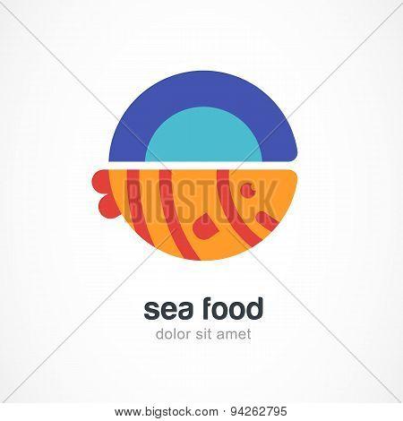Grilled Fish On Plate, Flat Illustration. Vector Logo Design Template.