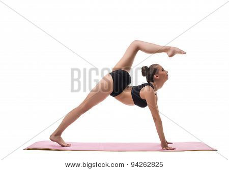 Yoga. Image of harmonous girl showing exercise