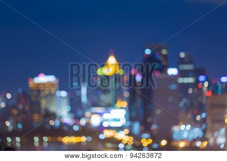 Night lights of the big city abstract blur bokeh background