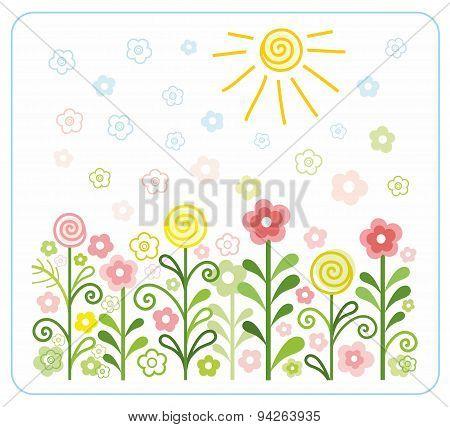 Flowers, Sun, Children, Flat,...