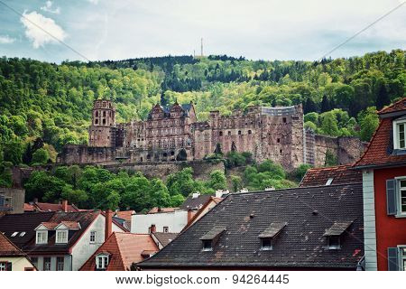 View of Historic Heidelberg Castle on Hill Overlooking Old Town Rooftops, Heidelberg, Baden-Wurttemberg, Germany