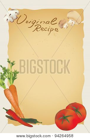 Recipe Blank Page Template with Vegetables